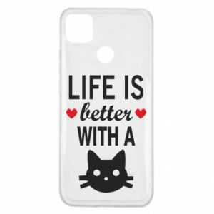 Xiaomi Redmi 9c Case Life is better with a cat
