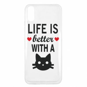 Xiaomi Redmi 9a Case Life is better with a cat