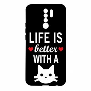 Xiaomi Redmi 9 Case Life is better with a cat