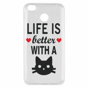 Xiaomi Redmi 4X Case Life is better with a cat