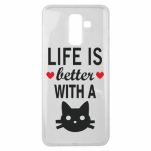 Samsung J8 2018 Case Life is better with a cat