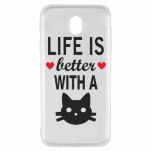 Samsung J7 2017 Case Life is better with a cat