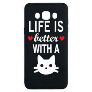 Samsung J7 2016 Case Life is better with a cat