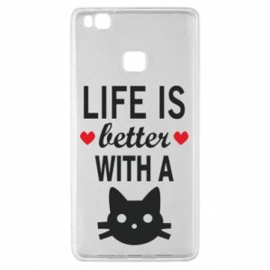 Huawei P9 Lite Case Life is better with a cat