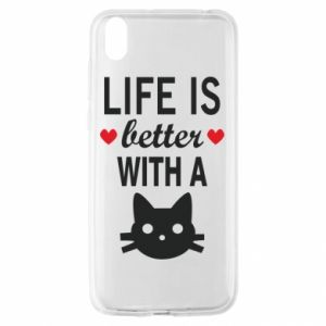 Huawei Y5 2019 Case Life is better with a cat