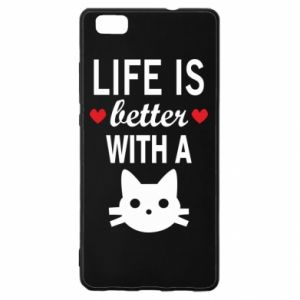 Huawei P8 Lite Case Life is better with a cat