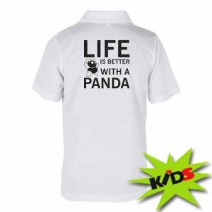 Dziecięca koszulka polo Life is better with a panda