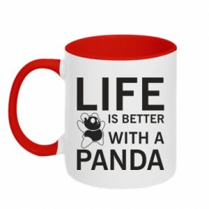 Kubek dwukolorowy Life is better with a panda