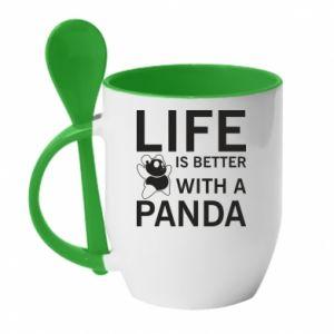 Kubek z ceramiczną łyżeczką Life is better with a panda