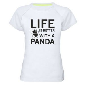 Damska koszulka sportowa Life is better with a panda