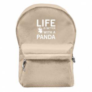 Plecak z przednią kieszenią Life is better with a panda