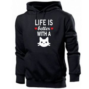 Men's hoodie Life is better with a cat