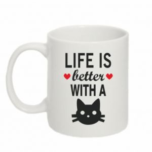 Mug 330ml Life is better with a cat