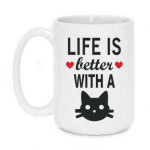 Kubek 450ml Life is better with a cat