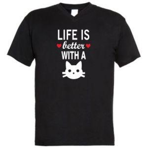 Męska koszulka V-neck Life is better with a cat