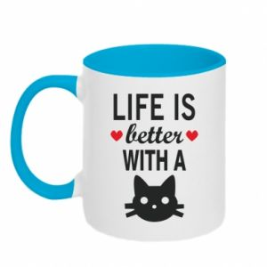 Kubek dwukolorowy Life is better with a cat