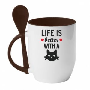 Kubek z ceramiczną łyżeczką Life is better with a cat