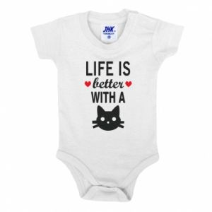 Baby bodysuit Life is better with a cat