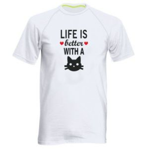 Men's sports t-shirt Life is better with a cat