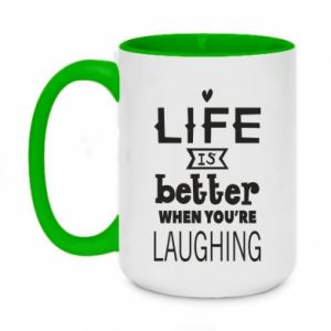 Kubek dwukolorowy 450ml Life is butter when you're laughing