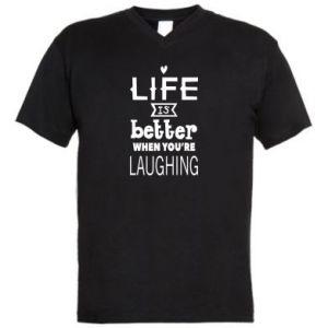 Męska koszulka V-neck Life is butter when you're laughing