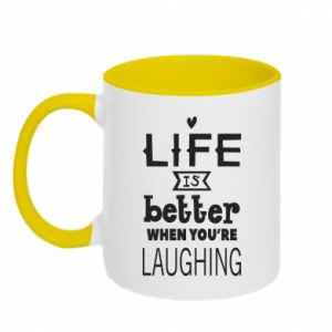 Kubek dwukolorowy Life is butter when you're laughing
