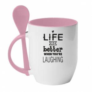 Kubek z ceramiczną łyżeczką Life is butter when you're laughing