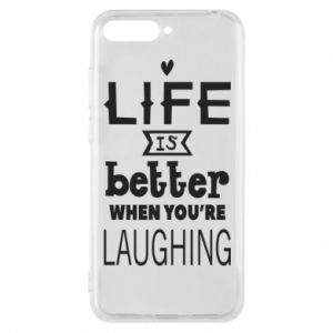 Etui na Huawei Y6 2018 Life is butter when you're laughing