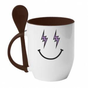Kubek z ceramiczną łyżeczką Lightning smile