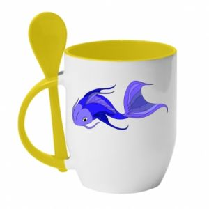 Mug with ceramic spoon Lilac fish