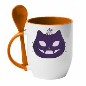Kubek z ceramiczną łyżeczką Lilac pumpkin