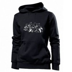 Women's hoodies Lilies black and white
