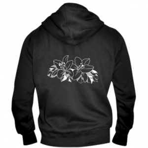 Men's zip up hoodie Lilies black and white