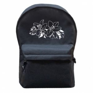 Backpack with front pocket Lilies black and white