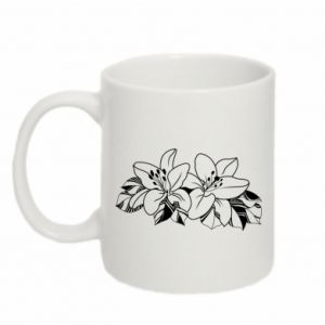 Mug 330ml Lilies black and white