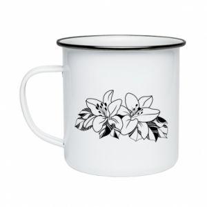 Enameled mug Lilies black and white