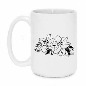 Mug 450ml Lilies black and white