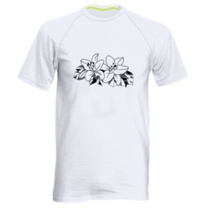 Men's sports t-shirt Lilies black and white