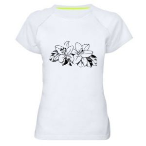 Women's sports t-shirt Lilies black and white