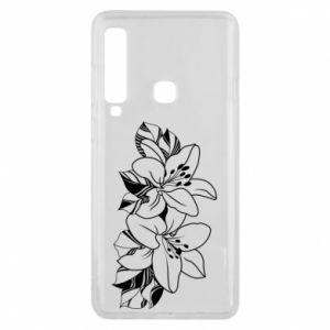 Etui na Samsung A9 2018 Lilie czarno-białe