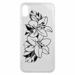 iPhone Xs Max Case Lilies black and white