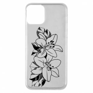 iPhone 11 Case Lilies black and white