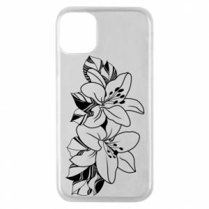 iPhone 11 Pro Case Lilies black and white