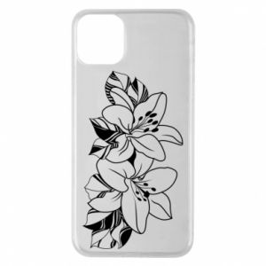 iPhone 11 Pro Max Case Lilies black and white