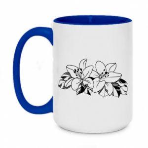 Two-toned mug 450ml Lilies black and white