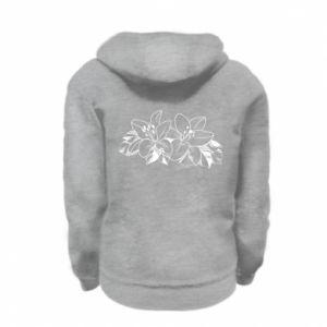 Kid's zipped hoodie % print% Lilies black and white