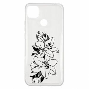 Xiaomi Redmi 9c Case Lilies black and white