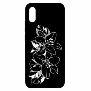 Xiaomi Redmi 9a Case Lilies black and white