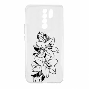 Xiaomi Redmi 9 Case Lilies black and white