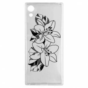 Sony Xperia XA1 Case Lilies black and white